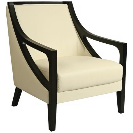 Fouquet White Leather Club Chair