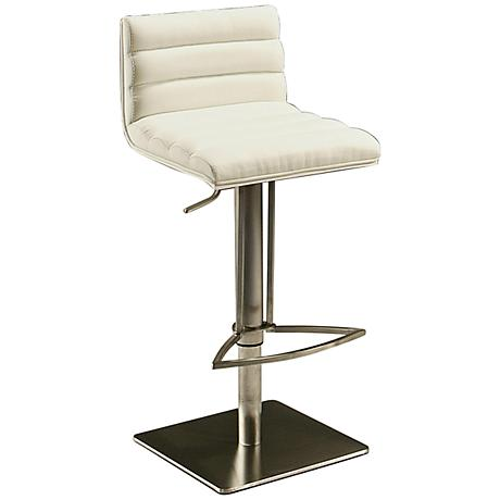 Dubai Ivory Faux Leather Adjustable Hydraulic Barstool