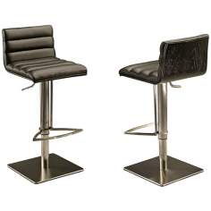 Dubai Stainless and Black Hydraulic Barstool