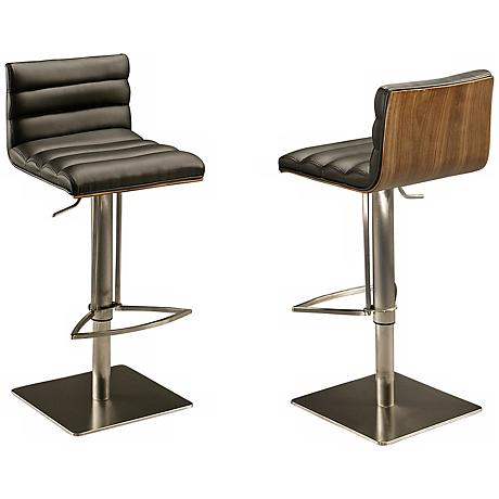 Impacterra Dubai Walnut and Black Hydraulic Barstool