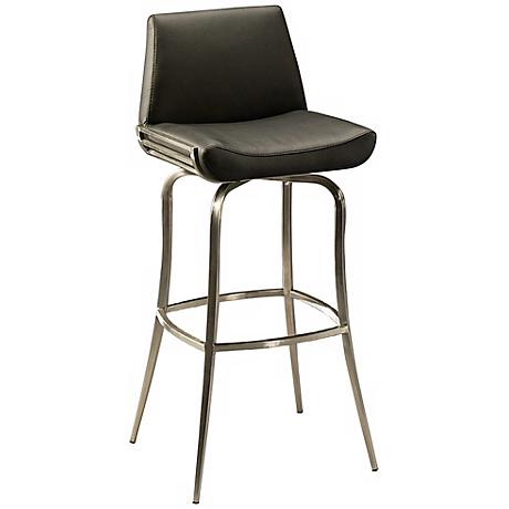 "Degorah 30"" Black Faux Leather Swivel Bar Stool"