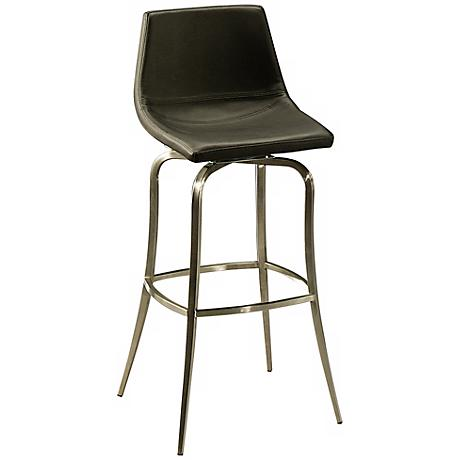 "Diamond Pearl 26"" Black and Stainless Swivel Counter Stool"