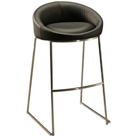 "DiSinistra 26"" Stainless Steel and Black Counter Stool"