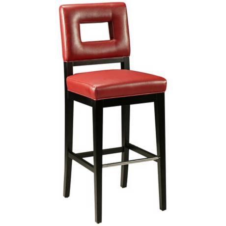 "Hajime 30"" Red Bonded Leather Bar Stool"