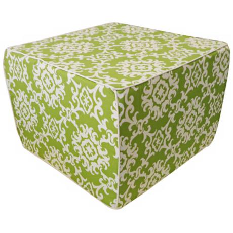 Alvin Outdoor Square Green Ottoman