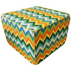 Dripping Paint Outdoor Square Green Ottoman