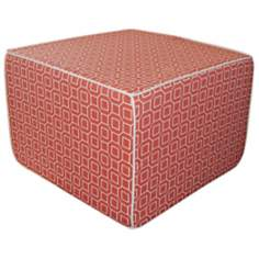 Hexagon Outdoor Square Orange Ottoman