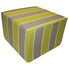 Garden Stripes Square Lime Ottoman