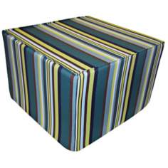 Aloe Stripes Outdoor Square Teal Ottoman