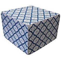 Tiles Outdoor Square Teal Ottoman