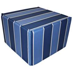 Blueberry Stripes Outdoor Square Ottoman