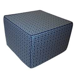 Hexagon Outdoor Square Slate Blue Ottoman