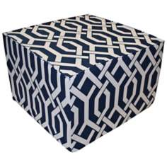 Fork Outdoor Square Navy Ottoman