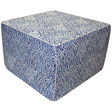 Jaipur Outdoor Square Blue Ottoman