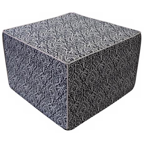 Jaipur Outdoor Square Black Ottoman