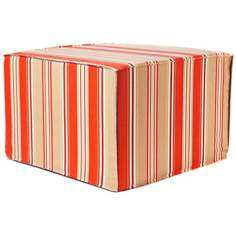 Oriole Stripes Outdoor Square Orange Ottoman