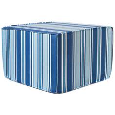 Thick Stripes Outdoor Square Blue Ottoman