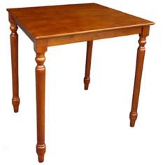 "Solid Wood 36"" High Turned Leg Cottage Oak Table"