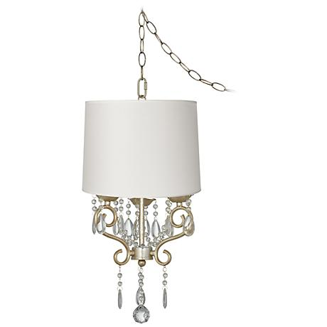"Conti 14"" Wide Mini Swag Chandelier with White Drum Shade"