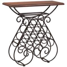 Selvia Cherry Iron Wine Rack