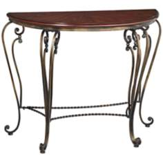 Lorraine Cherry and Distressed Gold Demilune Console Table