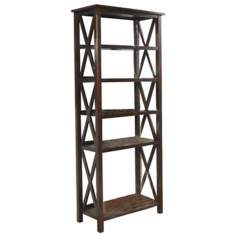 Adrien 5-Shelf Tobacco Brown Bookcase