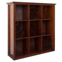 Artisan Brown Auburn Pine Wood 9-Cube Storage Unit