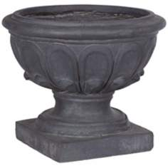 Ornate Gray Clay Fibre Outdoor Planter