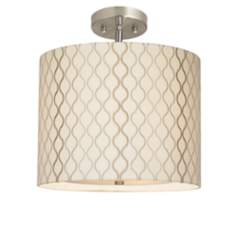 "Embroidered Hourglass 14"" Wide Brushed Steel Ceiling Light"