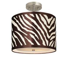 "Zebra Drum 13 1/2"" Wide Brushed Steel Ceiling Light"