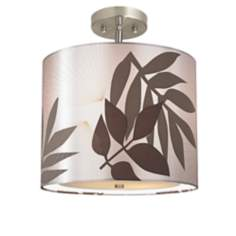 "Satin Leaves 13 1/2"" Wide Brushed Steel Ceiling Light"