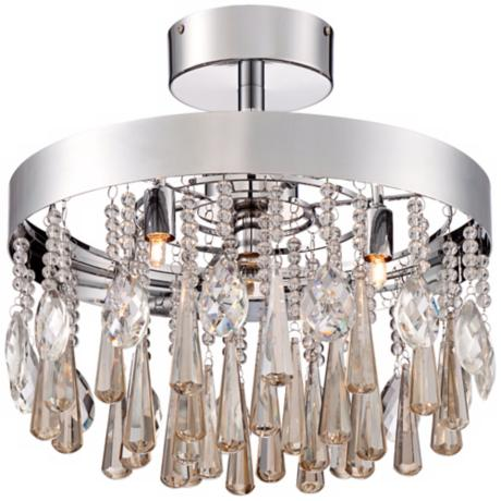 "Cognac Crystal 5-Light 15 3/4"" Wide Chrome Ceiling Light"