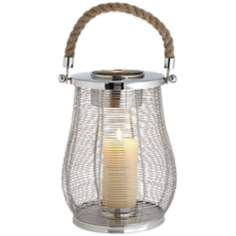 Rojo Rope Handle Medium Stainless Steel Lantern