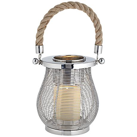 Small Stainless Steel Handmade Lantern With Rope Accent