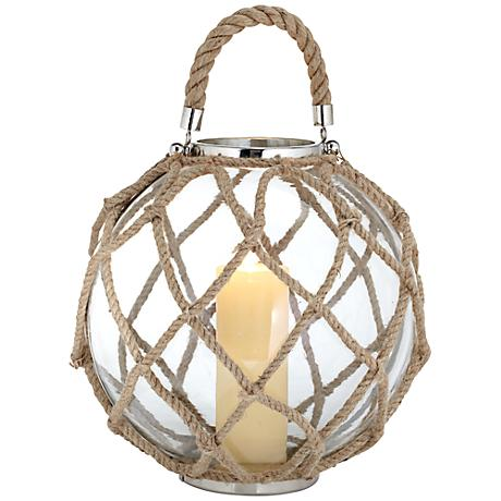 Stainless Steel Globe Lantern With Rope Accents