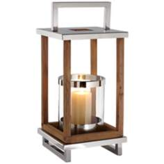 Medium Stainless Steel And Wood Candle Lantern