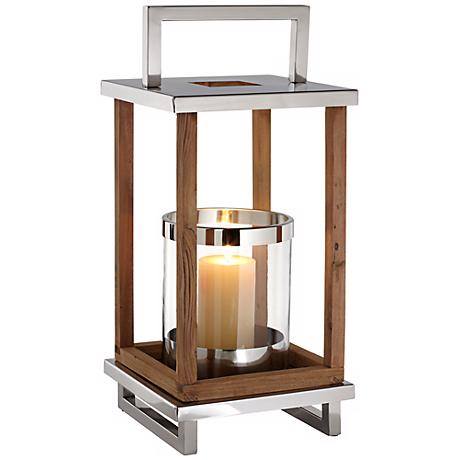 Medium Stainless Steel And Wood Pillar Candle Holder Lantern