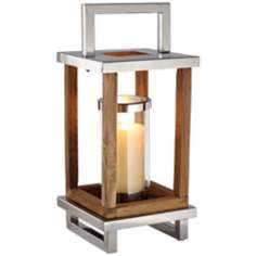 Small Stainless Steel And Wood Candle Latern