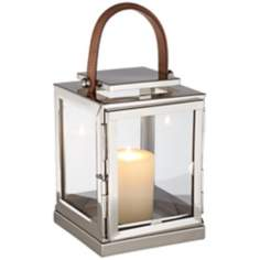 Extra Small Steel Lantern With Leather Handle