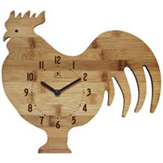 Roost and Serve Rooster Bamboo Kitchen Wall Clock