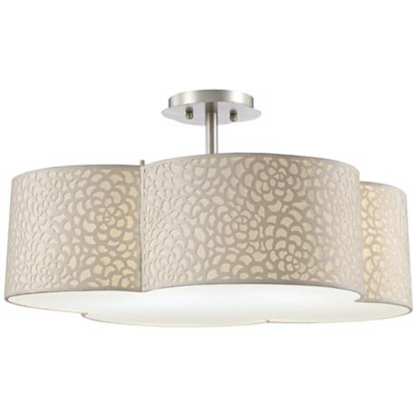 "Forecast Noe Ivory 24"" Wide Satin Nickel Ceiling Light"