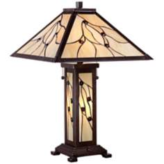 Twigs and Berries Golden Art Glass Table Lamp