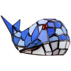 Blue Whale Tiffany Style Glass LED Accent Lamp