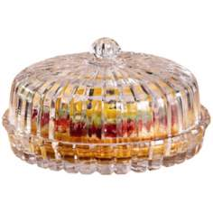 Alexandria Collection Crystal Pie Plate with Dome