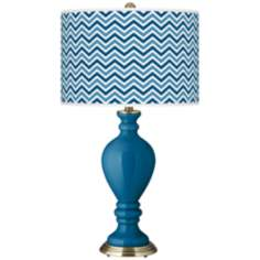 Mykonos Blue Narrow Zig Zag Civitia Table Lamp