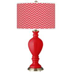 Bright Red Narrow Zig Zag Civitia Table Lamp