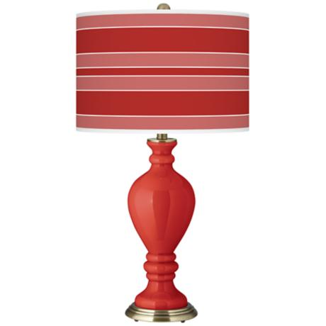 Cherry Tomato Bold Stripe Civitia Table Lamp