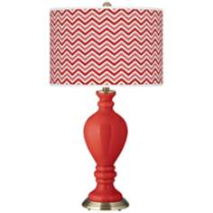 Cherry Tomato Narrow Zig Zag Civitia Table Lamp