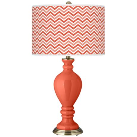 Modern Orange Narrow Zig Zag Civitia Table Lamp