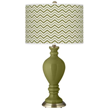 Rural Green Narrow Zig Zag Civitia Table Lamp